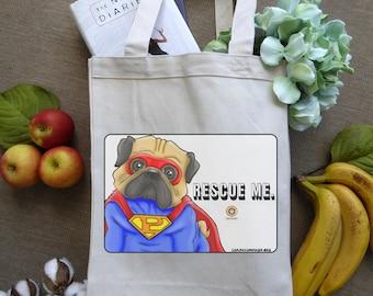 Canvas Tote Bag, Grocery Bag, Animal Lover Gift, Dog Lover Gift, Shopping Bag, Pug Stuff, Pug Bag, Dog Rescue & Adoption, Superhero