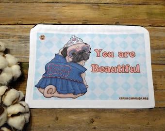Cotton Canvas Bag, Zipper Canvas Bag, Clutch Bag, Dog Design, Make-Up Pouch, Every Day Bag, Pug Bag, Diva, Pug Stuff, Beautiful Bag