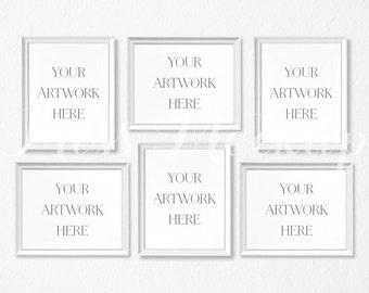 Download Free 8x10 Set of 6 DIGITAL White Frame Mockup (Portrait/Landscape) - Stock Photo, Styled Photography, Mock up, prints, INSTANT DOWNLOAD PSD Template