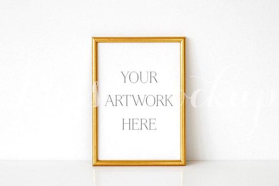 146f51cb2d66 A4 DIGITAL Gold Frame Mockup Portrait Stock Photo Styled