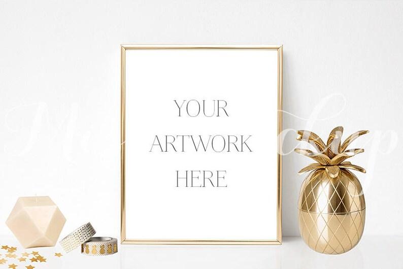 f669a241fe79 8x10 DIGITAL Gold Frame Mockup Portrait Stock Photo