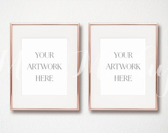 8x10 DIGITAL Set of 2 Rose Gold Frame Mockup (Portrait) - Stock Photo, Styled Photography, Mock up, prints, INSTANT DOWNLOAD