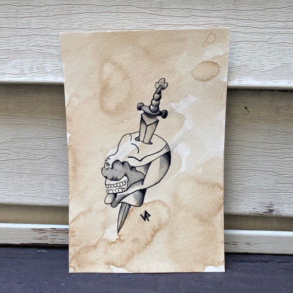 Bent back lady-original watercolor painting-6x9-original painting