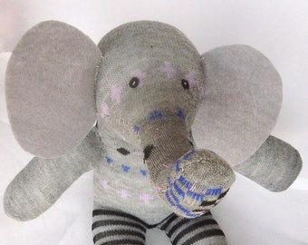 Grey sock elephant, elephant plushie, toy elephant, baby shower gift