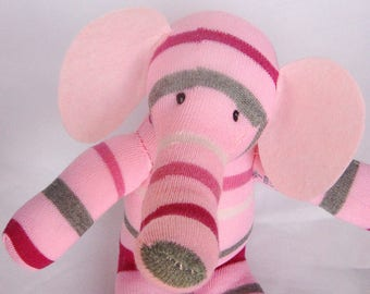Cute and cuddly pink and grey stripy sock elephant