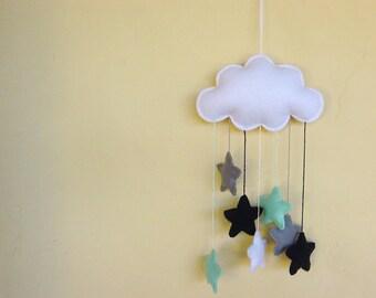 White felt cloud nursery mobile with a cascade of navy blue, mint green and elephant grey stars