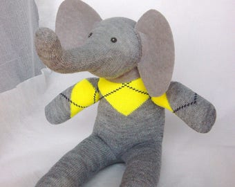 Grey and yellow, elephant plushie, baby shower, sock elephant, cuddly toy
