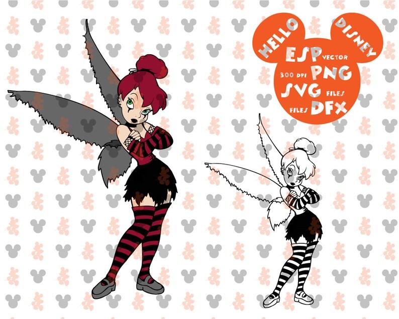 dbf0f4cdb Disney Halloween Tinkerbell punk rock Clipart Disney Cut | Etsy