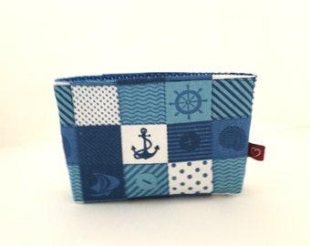 blauer Taschenorganizer für die Handtasche, Fächertasche maritim, Geschenkidee für Frauen