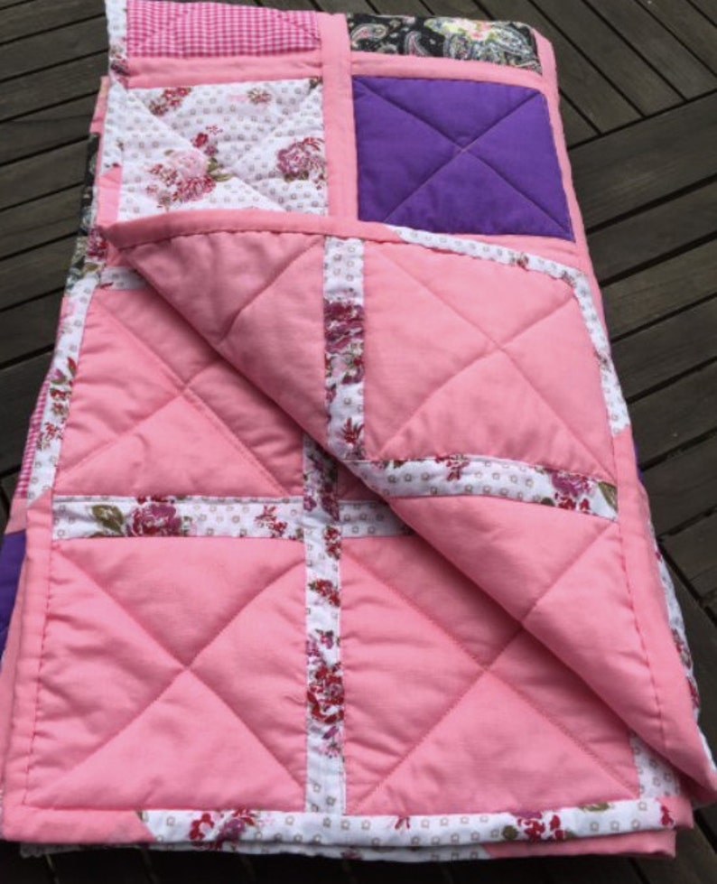 Patchwork blanket gift for the wedding pink purple 110 x image 0