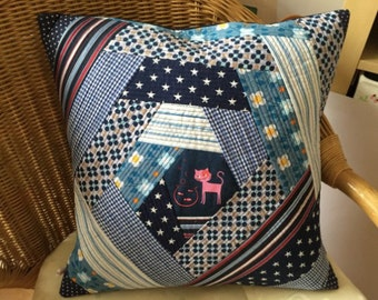 Pillow Pillow Cover Patchwork blue cushion gift