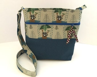 blau/beige Umhängetasche Panda, Kindertasche zum umhängen, Geschenkidee zum Geburtstag