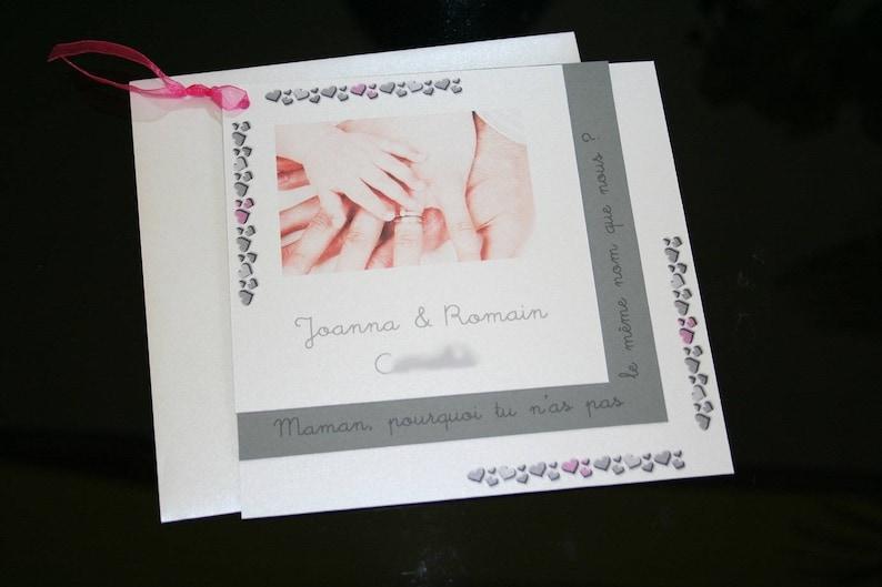 Faire Part Mariage Bapteme Gris Blanc Rose