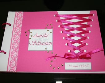 Book of Corset Cabaret feather white gold and Fuchsia 20 pages