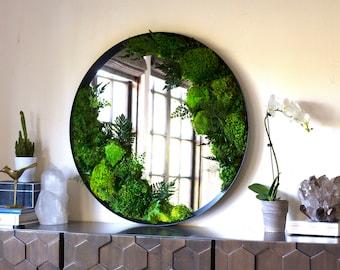 Preserved Moss Art Framed Mirror, Real Moss Decor, Living Moss Wall Art Large, Living Plant Wall Art, Moss Decor, Eco Friendly Home Decor