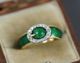 Vintage 'Kutchinsky' Green Enamel & Diamond Buckle Ring, 18ct Gold