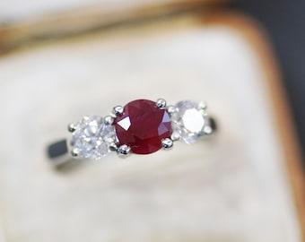 Ruby & Diamond Three Stone Ring, Platinum Mount