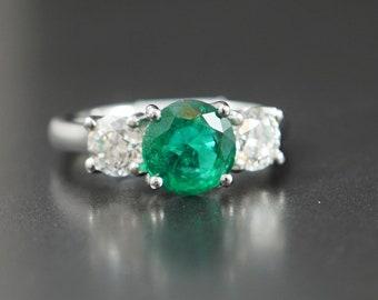Emerald & Diamond Three Stone Ring, Platinum Mount