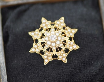 Victorian Diamond And Pearl Starburst Brooch, 15ct Gold