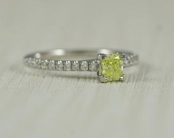 Certified Natural Fancy Intense Green/Yellow Radiant Cut Diamond Set Ring