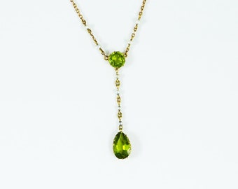 Antique Peridot and Pearl Necklace, Circa 1915