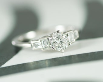 GIA Certified Art Deco Style Diamond Ring, Platinum Mount