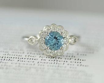 Aquamarine & Diamond Cluster Ring, Platinum mount