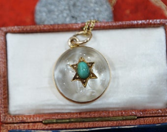 Victorian Turquoise & Rock Crystal Pendant, 15ct Yellow Gold