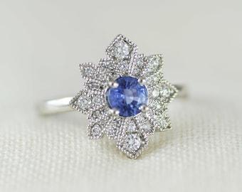 Art Deco Style Sapphire & Diamond Ring, Platinum Mount