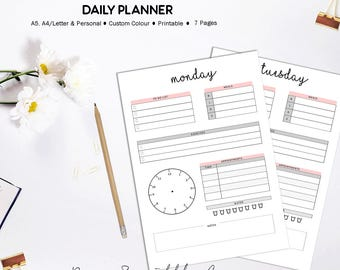 Daily Planner Printable, To Do List, Daily Schedule, Day Organizer, Day On One Page, 2017 2018 Daily Planner Inserts, Custom Color Inserts