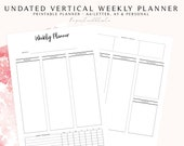Undated Vertical Weekly Planner, Week on Two Pages, 2018 Week on Two Pages, Weekly Planner Inserts, WO2P Planner Inserts, Undated Planner