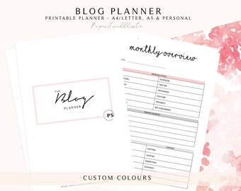 Blog Planner, Blogging Planner, Social Media Planner, Business Planner, Blog Organizer, Blog Planning, Printable Planner, Custom Colour