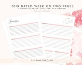 2019 Weekly Planner Printable, 2019 Dated Planner Inserts, 2019 Dated Week on Two Pages, Dated Weekly Planner, 2019 Dated Planner