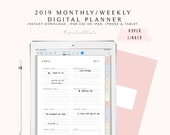 2019 Digital Planner, Goodnotes Planner 2019, Dated Weekly Planner, iPad Weekly Planner, Digital Weekly Planner, Digital Journal Hyperlinked