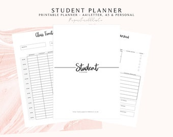 student planner study planner printable academic planner etsy
