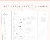 2020 Weekly Dated Planner Printable, 2020 Weekly Planner Kit, Weekly Calendar, Week on One Page, Weekly Calendar, 2020 Planner Printable