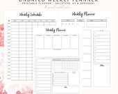 Weekly Planner Printable, Weekly Schedule, Undated Planner, To Do List, Undated Weekly Planner, Weekly To Do List, Bullet Journal Printable