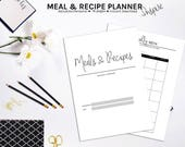 Meal Planner, Recipe Planner, Recipe Binder, Grocery List, Weekly Meal Planner, Menu Planning, Recipe Book, Recipe Card, Printable Planner