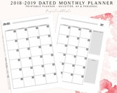 2018-2019 Monthly Planner, 2019 Planner, Month on Two Pages, Monthly Calendar, MO2P, Monthly Planner, Monthly Inserts, Dated Planner