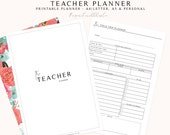 Teacher Planner, Lesson Planner Printable, 2018 Teacher Planner, School Classroom Organizer, Home School Planner, Teaching Printable Planner