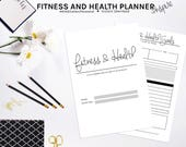 Fitness Planner Printable, Health Planner, Workout Diary, Workout Log, Food Log, Calorie Tracker, Workout Tracker, Fitness Journal