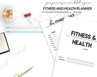 fitness planner fitness journal fitness and health etsy