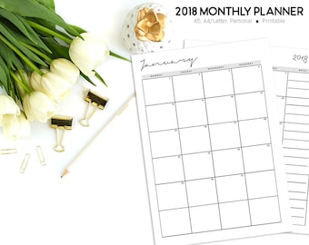 Month on Two Pages, 2018 Monthly Planner, Monthly Calendar, Monthly Inserts, Printable Planner Inserts, 2018 Calendar, MO2P