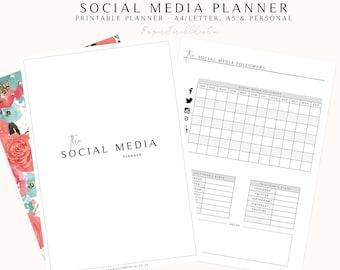 Social Media Planner, Printable Blog Planner, Business Planner, Social Media, Marketing Planner, Social Media Tracker, Printable Planner