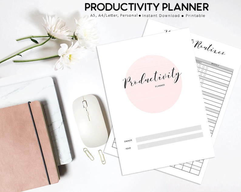 Productivity Planner Printable Habit and Routines Project image 0