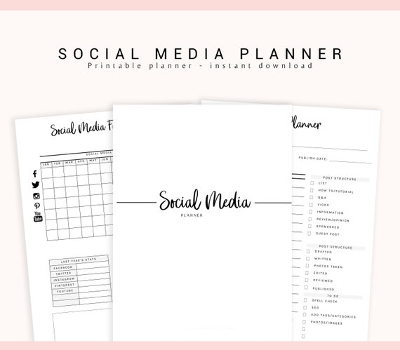 photograph regarding Blog Planner Printable identify Social Media Planner, Printable Web site Planner, Enterprise Planner, Social Media, Advertising and marketing Planner, Social Media Tracker, Printable Planner