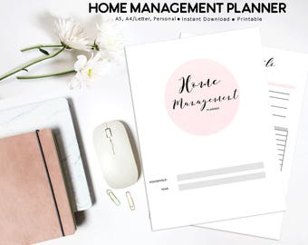 Home Management Planner PRINTABLE, Home Organization, Household Planner, Printable Planner, Cleaning Planner, Family Planner PRINTABLE