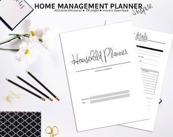 Household Planner PRINTABLE | Home Management Planner | Printable Planner | Family Planner | Household Printable Binder | Family Organizer