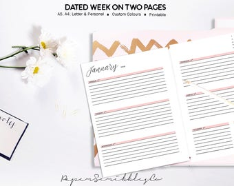 2018 Week on Two Pages Planner, WO2P, Weekly Planner Printable Inserts, Dated Weekly Inserts Planner, Printable Planner, Custom Color