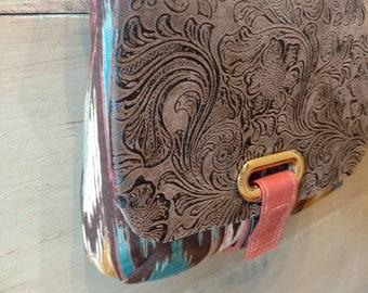Southwest Saddlebag-mini-faux leather messenger bag